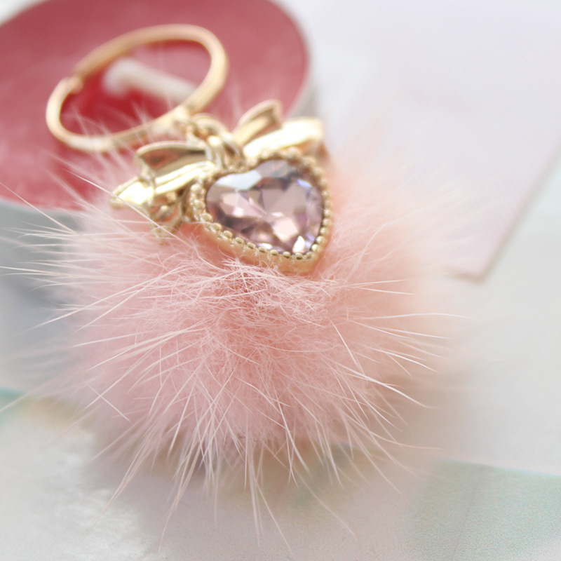 Korean Bowknot Rhinestone Heart Ring Pink White Mink Fur Pompom Ball Adjustable Finger Rings For Women Lady Wedding Party Gifts