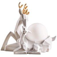 Элегантный смолы олень прополка подарок Спальня настольная лампа Стекло абажур резные олень кабинет стол светотехника