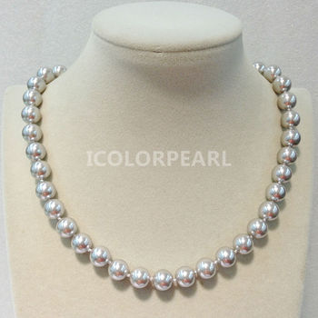 Black And Gold Choker   WEICOLOR Lovely 8/10mm Round Grey/White,Pink,Black,Gold... Mother Pearl Necklace(45cm). Shell Pearl Jewelry For Mothers!