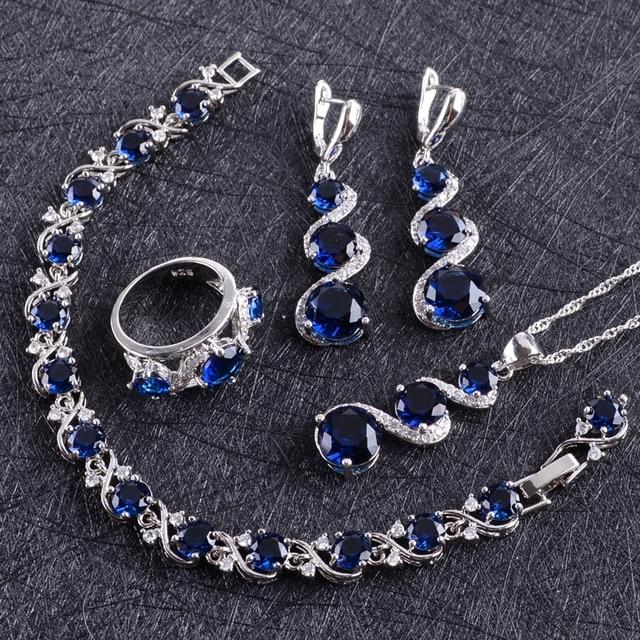 Blue Zircon Silver 925 Wedding Jewelry Sets Women Costume Pendant Necklace Rings