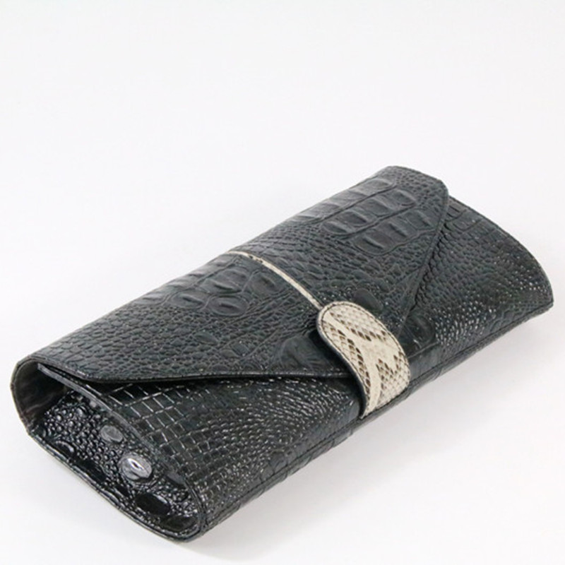 Genuine Leather Women Clutch Bag 2019 New Fashion Crocodile Female Evening Bag Chain Shoulder Bag Messenger Bag 9711 in Clutches from Luggage Bags
