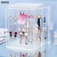 ANFEI Jewelry Accessories Charms Transparent Crystal Rack Earring Necklace Chain Organizer Holder Hanging Box Display Stands