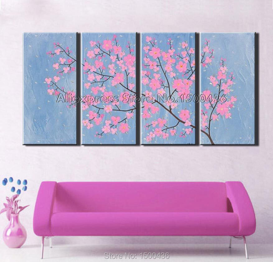 Handpainted modern flowers wall paintings on canvas oil wall art handpainted modern flowers wall paintings on canvas oil wall art abstract 4 pieces pink floral light blue picture decoration set in painting calligraphy mightylinksfo