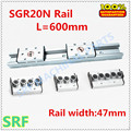 47mm breedte aluminium profiel ingebouwde dubbele as lineaire gids SGR20N roller slide rail L = 600mm + 1 stks SGB20N wiel slide blok