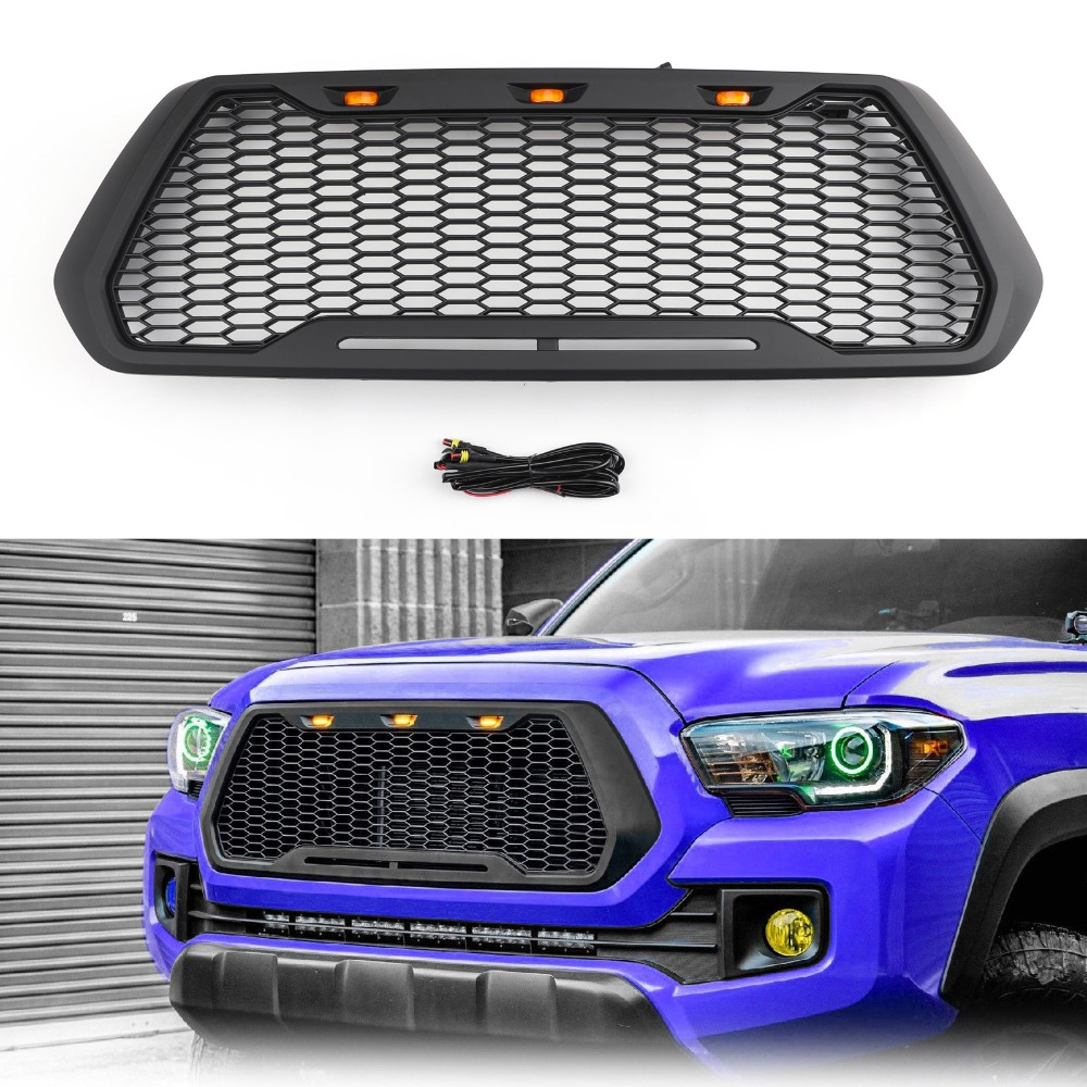 Areyourshop Car Front Bumper Raptor Style Grille Grill For Toyota Tacoma 2016-2019 2017 W/LED Light Car Auto Accessorie Grille