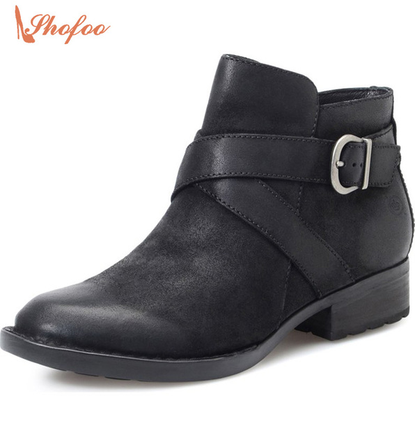 Shofoo Womens Low Shoes Fashion Leather Boots Winter Zipper Designer Ankle  Boots Black Low Flat Heel 38d745e1ab