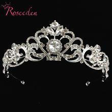 Красивая розовая Золотая Серебряная свадебная тиара Корона королева