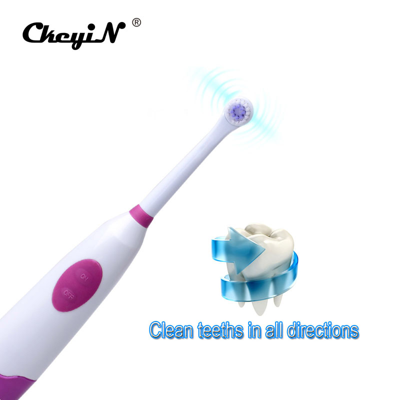 Battery Operated Waterproof DuPont Bristles Rotary Electric Toothbrush with Two Replaceable Brush Heads For Adult or Children