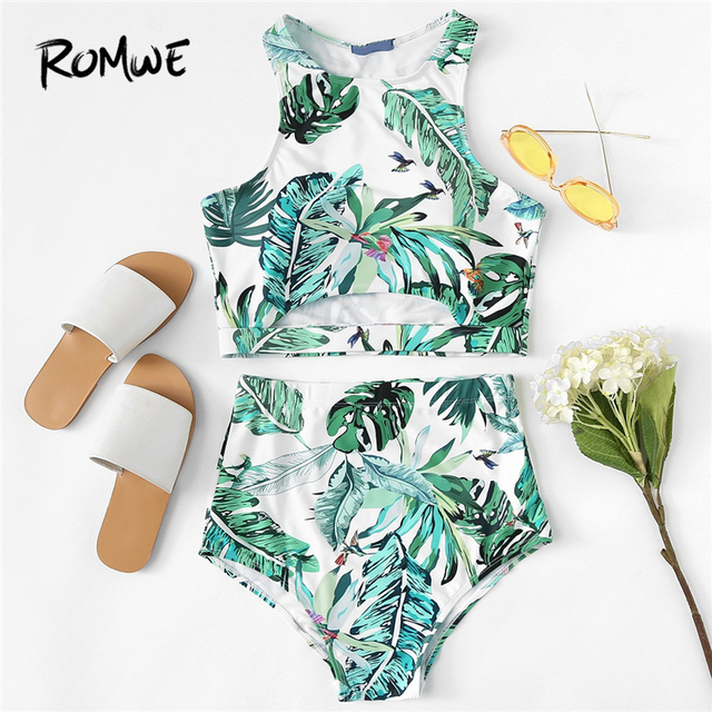 13a1e17a6260f Romwe Sport Green Tropical Palm Leaf Print Cut Out Beach Hot Tankini Set  Swimming Suit For