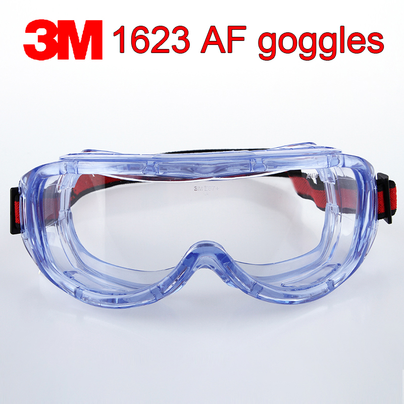 3M 1623AF Protective Glasses Big Vision Chemistry Safety Goggles Anti-fog Anti-UV Anti-splashing Work Safety Glasses