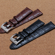 20mm 21mm 22mm genuine leather polished bright stainless steel  buckle Brown black watch accessories bracelet watch strap band
