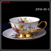 1 set Fashion Bone China Ceramic Cup Saucer Creative Afternoon Flower teacups and saucers Spoon Bone Porcelain Cup Set 8ZDZ510