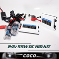 24V 55W DC xenon hid conversion kit H1 H3 H7 H8 H9 H10 H11 9005 9006 H10 HB3 BH4 880 881 lamp silm ballast for car headlight