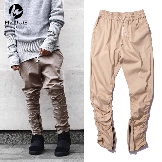 78e1ddf1af28bc khaki/Black/Green korean hip hop fashion pants with zippers factory  connection mens urban