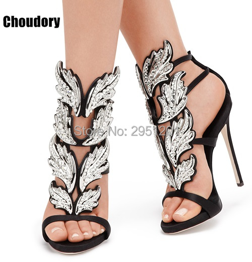2018 Sexy Bling Rhinestone Angle Wings high heels sandals women Shiny Leather Bridal Gold Plated Winged gladiator sandals women hottest golden metallic leather wing sandals silver gold red gladiator high heels shoes women metallic winged sandals