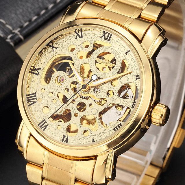 Novo Luxo de Ouro Banda de Aço Inoxidável Mecânico Automático do Relógio de Pulso Roma Número Homens Esqueleto Dial Mens Watch Time Gift M104