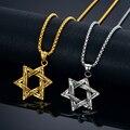 Звезда давида Ожерелье Еврейские Ювелирные Изделия Оптом Позолоченный Израиль Нержавеющей Стали Кулон Ожерелье с Цепи Rolo