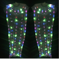 Tribal Belly Dance Led Light Fan Veil Silk Costume Accessories Veils Dance Fans 1 Pair