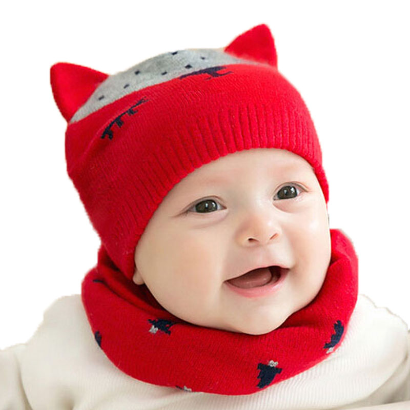 Unisex Knit double Ear Beanies Hats and Ring Scarf Set Child Fox Design Jacquard Winter Warm Cap 2 Pieces Suit MZ5079