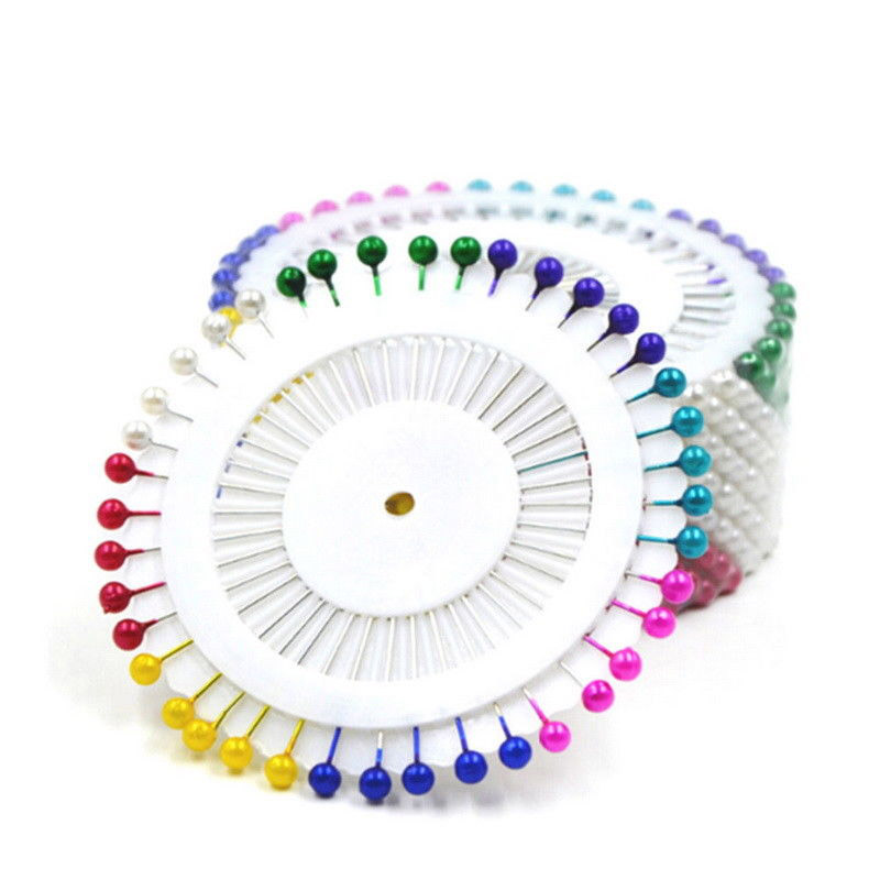 Plastic Pin Cusion Multi-Colour Needlework Faux Pearl Head Pins 480-Piece