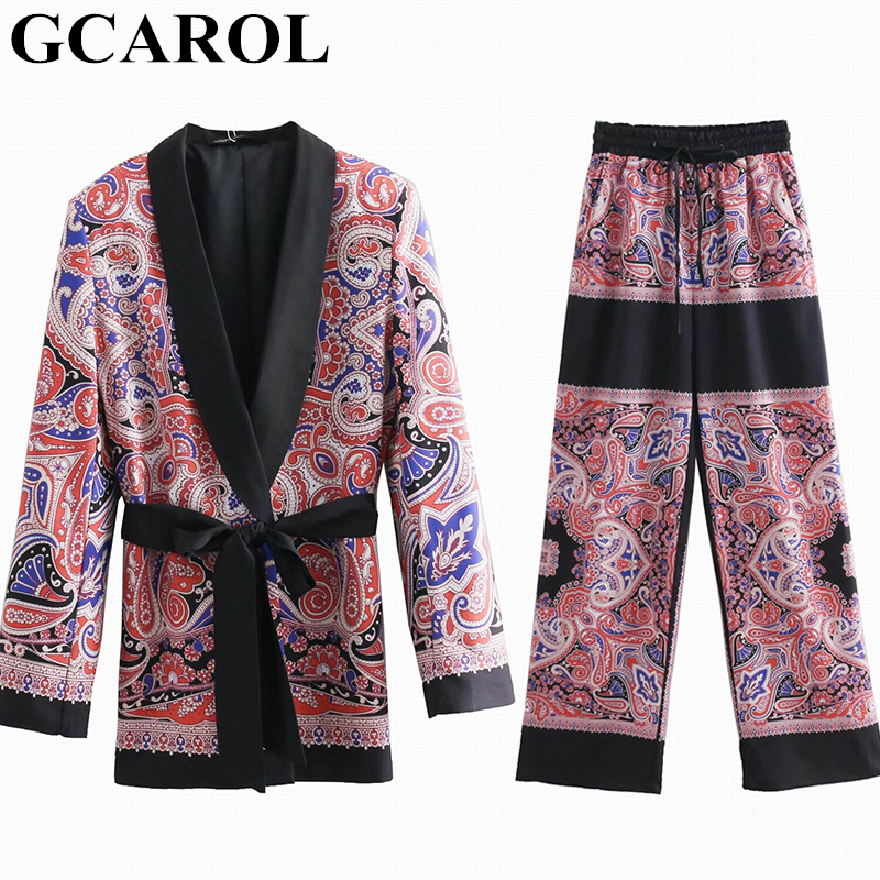 GCAROL 2019 Totem Floral 2 Pieces Sets Women'sets Pajama Notched Blazer With Sashes Wide Leg Pants Retro Spring Summer Outfits