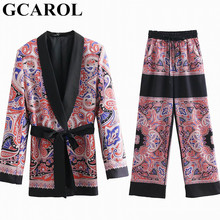 GCAROL 2019 Totem Floral 2 Pieces Sets Women'sets Pajama Notched Blazer With Sashes Wide Leg Pants Retro Spring Summer Outfits(China)
