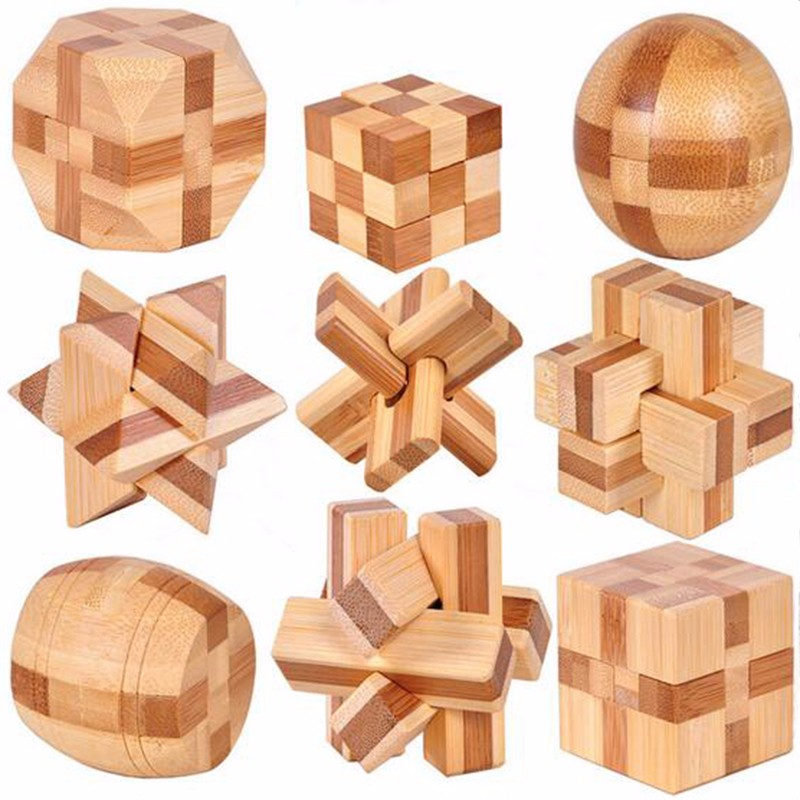 9 PCS IQ Brain Teaser Wooden Interlocking Puzzles