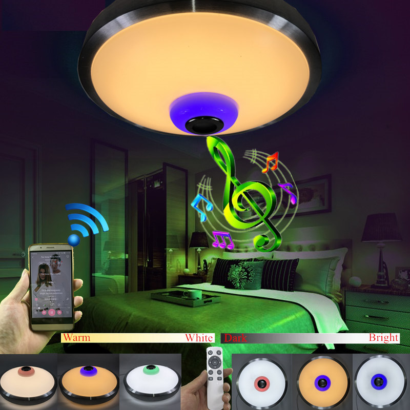 NEW Modern LED Ceiling Light With 2.4G RF Remote Control and RGB Wireless Bluetooth Speaker Music Playing Dimmable Ceiling LampNEW Modern LED Ceiling Light With 2.4G RF Remote Control and RGB Wireless Bluetooth Speaker Music Playing Dimmable Ceiling Lamp