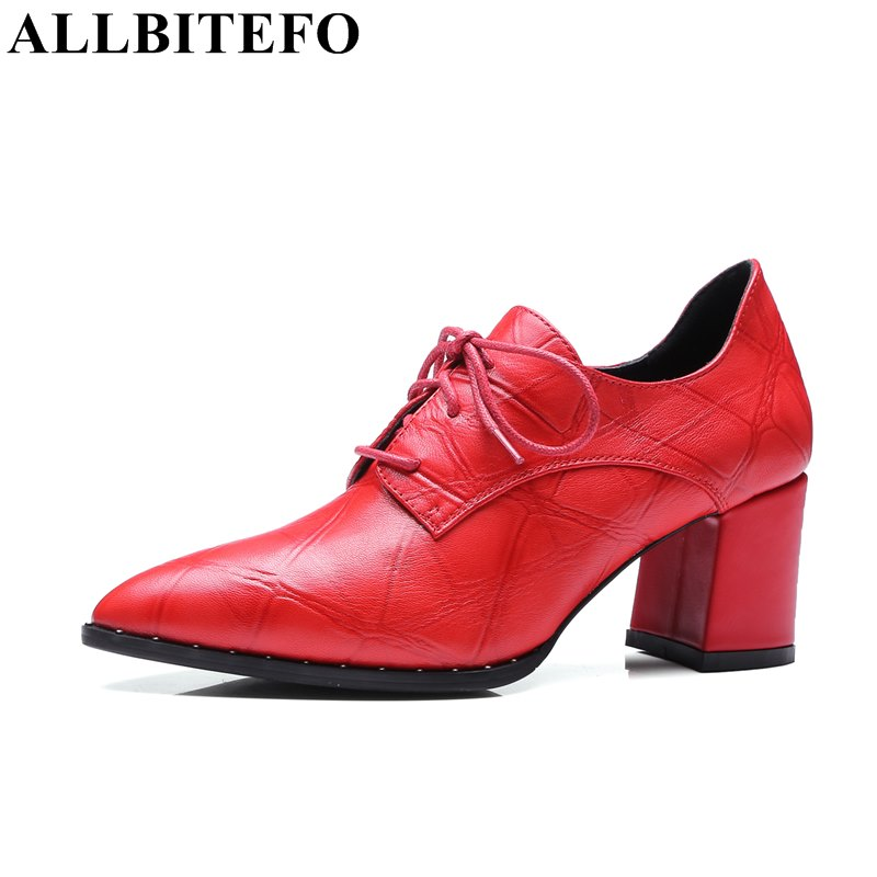 ALLBITEFO 2017 spring sheepskin pointed toe thick heel ladies shoes fashion high heels women pumps women's shoes size:33-41