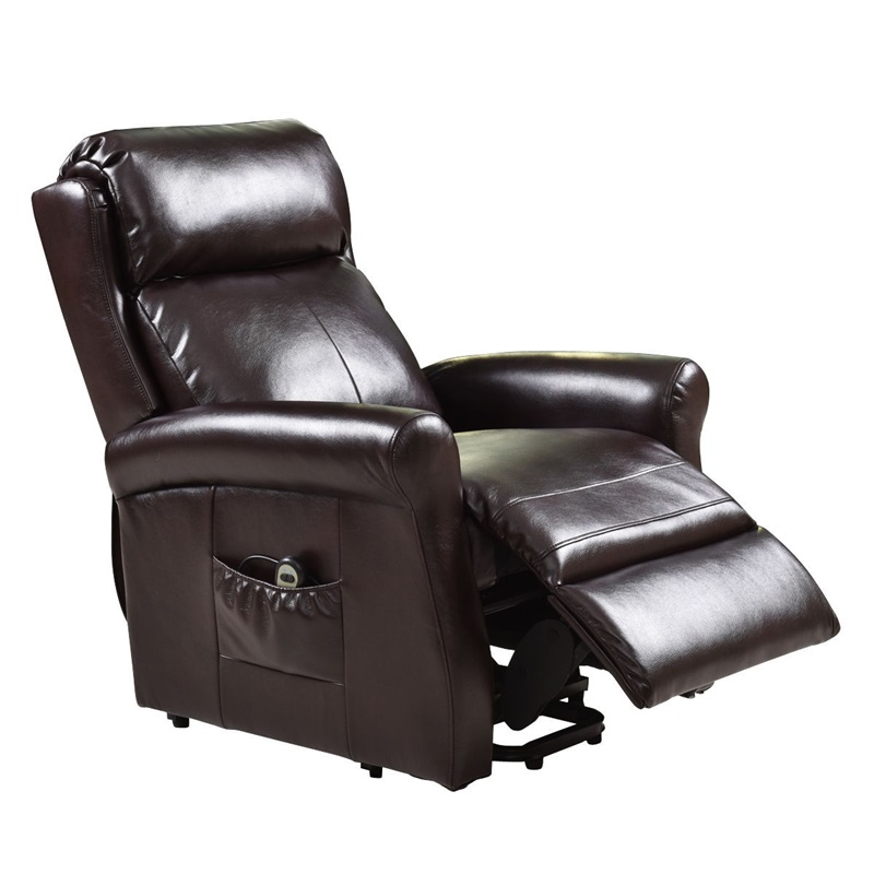 High Quality Adjustable Brown Electric Lift Chair Recliner Soft High-density Sponge Living Room Leather Couch Footrest HW54390 image