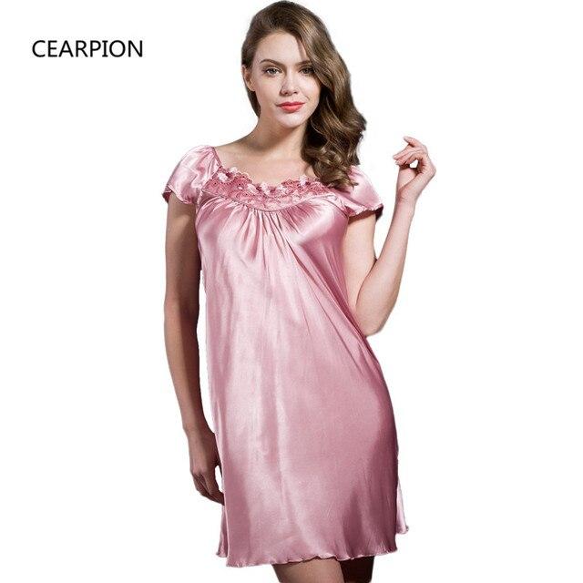 CEARPION ZShort Sleeve Nightdress Women s Sexy Embroidery Nightgown Satin  Sleepwear Summer Nightwear Soft Home Dress Gown ced6934d0