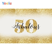 Yeele Golden Bling People 50th Birthday Portrait Photography Backgrounds Customized Photographic Backdrops For Photo Studio