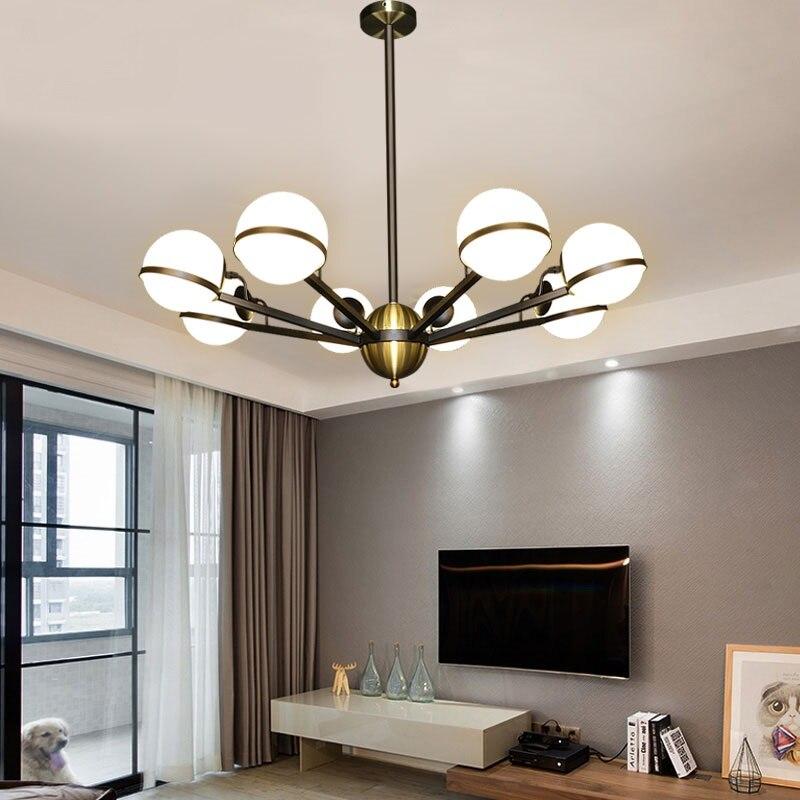 Nordic living room pendant lamp simple magic beans glass ball creative iron round bedroom restaurant chandelier 6/8/10 LU731345