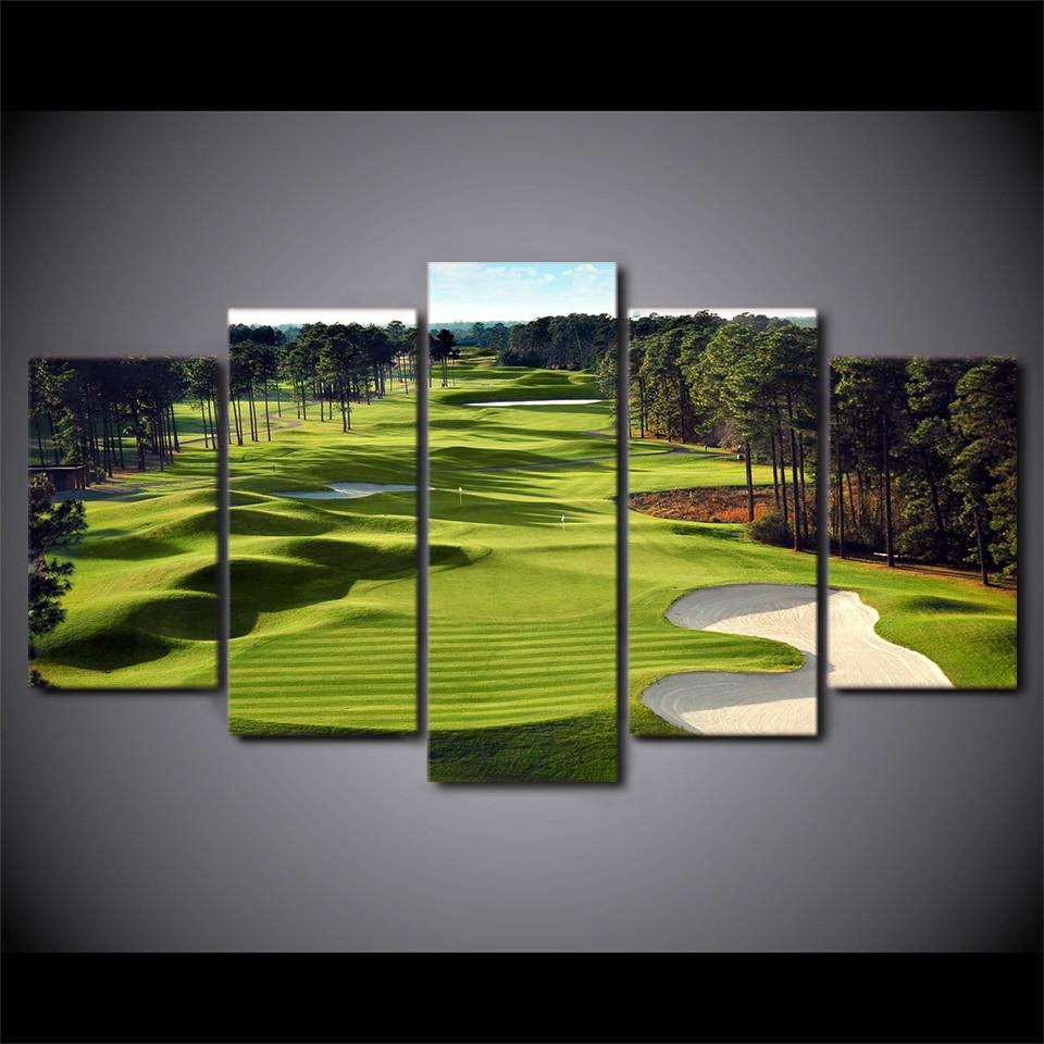 Obrazy na plátně Artryst HD Vytištěné 5 kusů Golfové hřiště Nástěnné umění Obrazy na plátně do obývacího pokoje 5 ks tisk plakátů ZJ3625