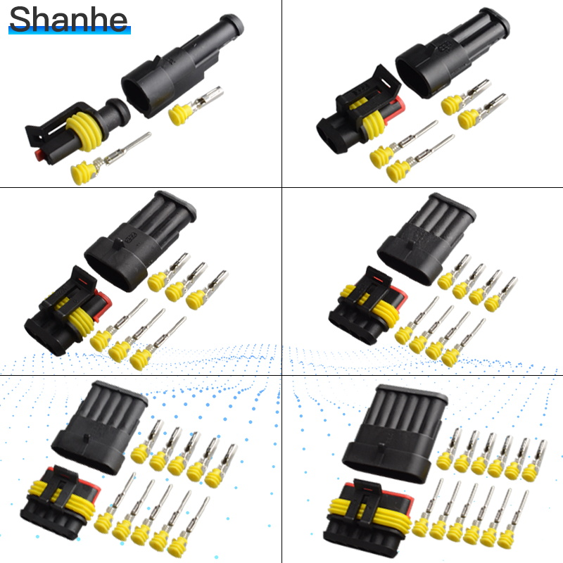1-5sets Kit 2 Pin 1/2/3/4/5/6 Pins Way AMP Super Seal Waterproof Electrical Wire Connector Plug For Car Waterproof Connector