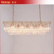 Lámpara colgante de cristal de estudio de restaurante luces de lujo creativas antiguas marco de cristal de araña Rectangular de oro americano