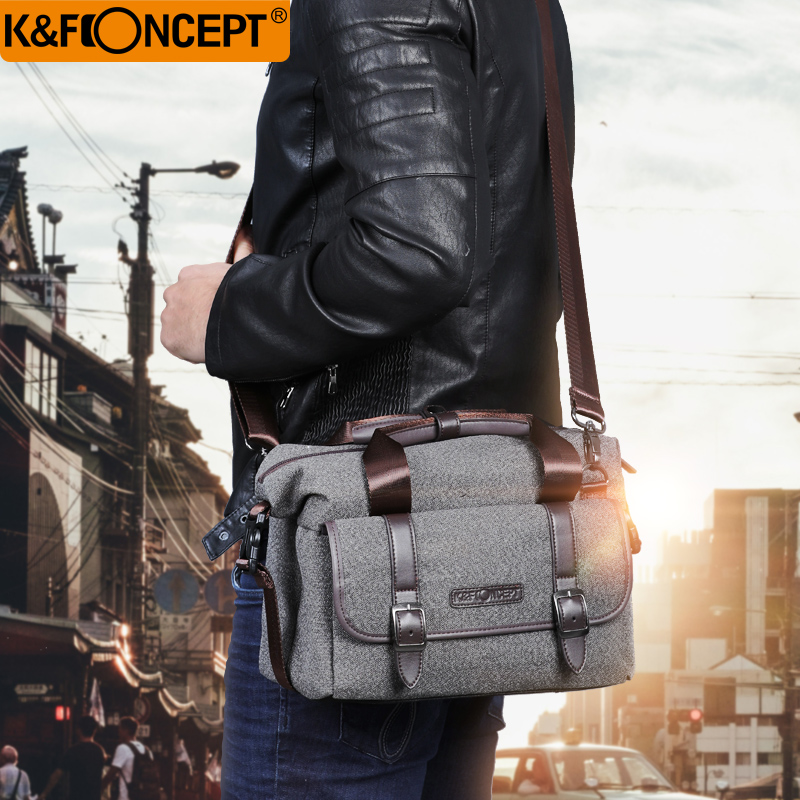 K F CONCEPT Camera Bag DSLR Shoulder Bag Waterproof Unisex Modern Casual Style Removable Divider Anti