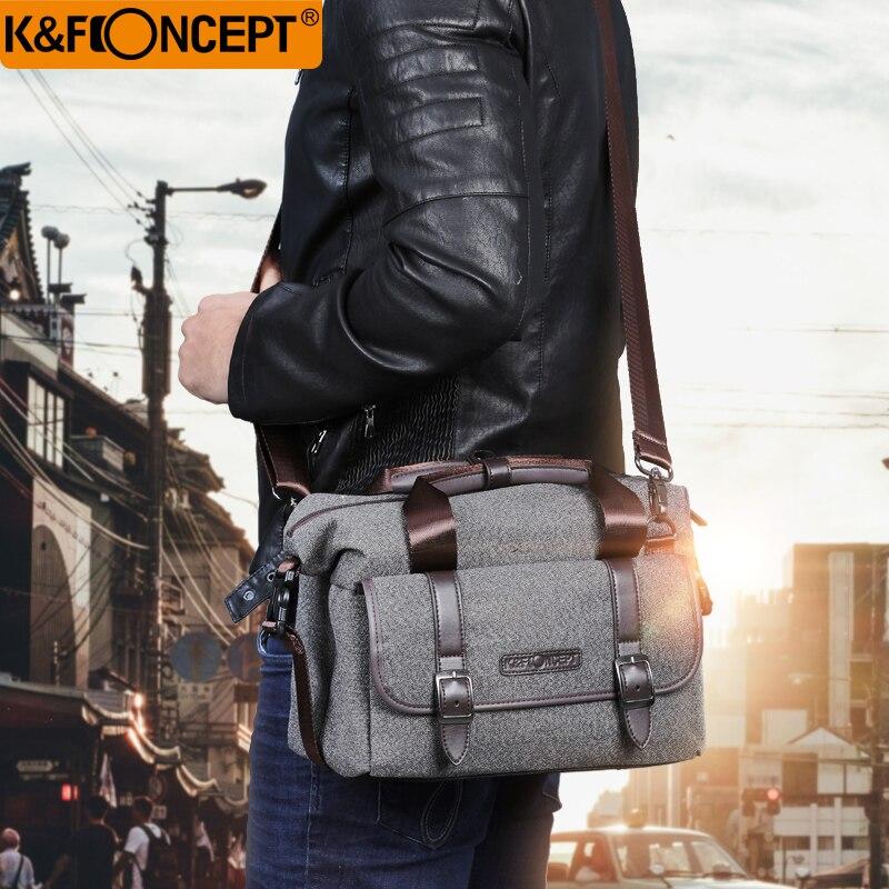 K & F CONCEPT Caméra Sac DSLR Épaule Sac Étanche Unisexe Moderne Style Décontracté Amovible Diviseur Anti-slip Bas gris M Taille