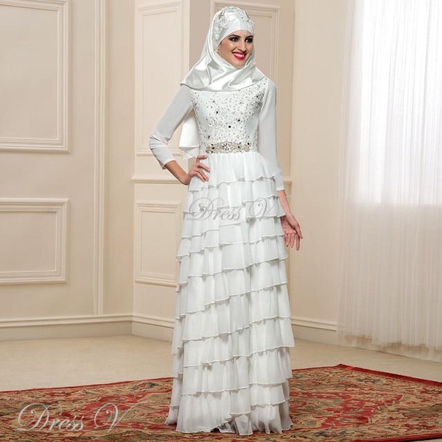 Islamic Wedding Dresses With Hijab 2017 : Aliexpress buy new design chiffon long sleeve muslim