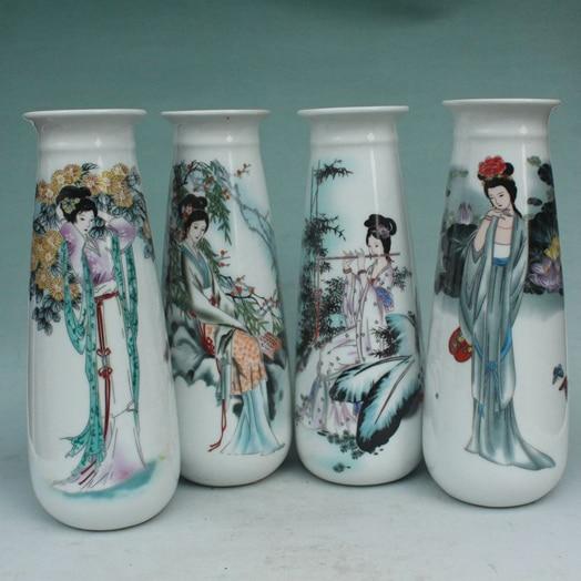(4 Peças) Elaborar Famille Rose Vaso de Porcelana, impressos Com Belas Quatro Temporadas Beleza