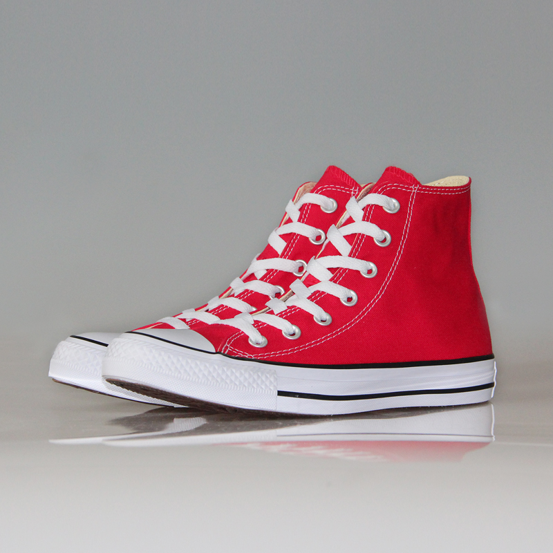 new mens and womens converse all star shoes red black
