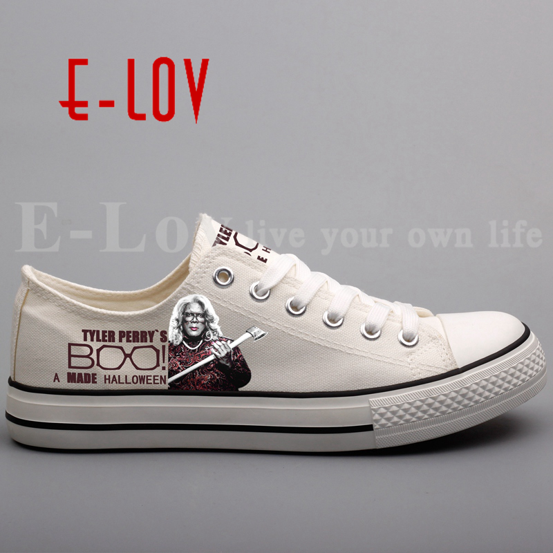E-LOV Printed Halloween Party Canvas Shoes Unique BOO A Madea Halloween Leisure Shoes Hip Hop Casual Flat Shoe e lov women casual walking shoes graffiti aries horoscope canvas shoe low top flat oxford shoes for couples lovers