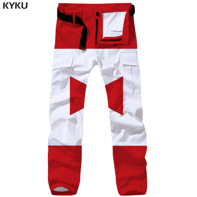 9c5efb18645a KYKU Brand Pattern Cargo Pants Men Red Gothic Britches Tactical Baggy 3d  Print Pants Vintage Casual