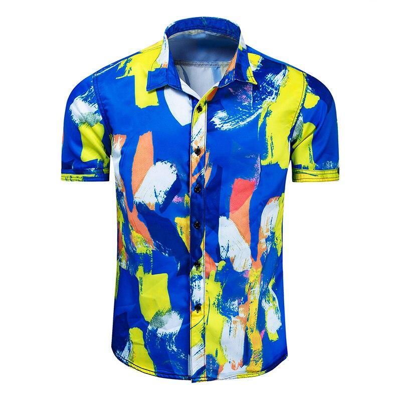 Рубашка мужская летняя новая с коротким рукавом Мужская модная рубашка с принтом Повседневная хлопковая рубашка с коротким рукавом рубашк...
