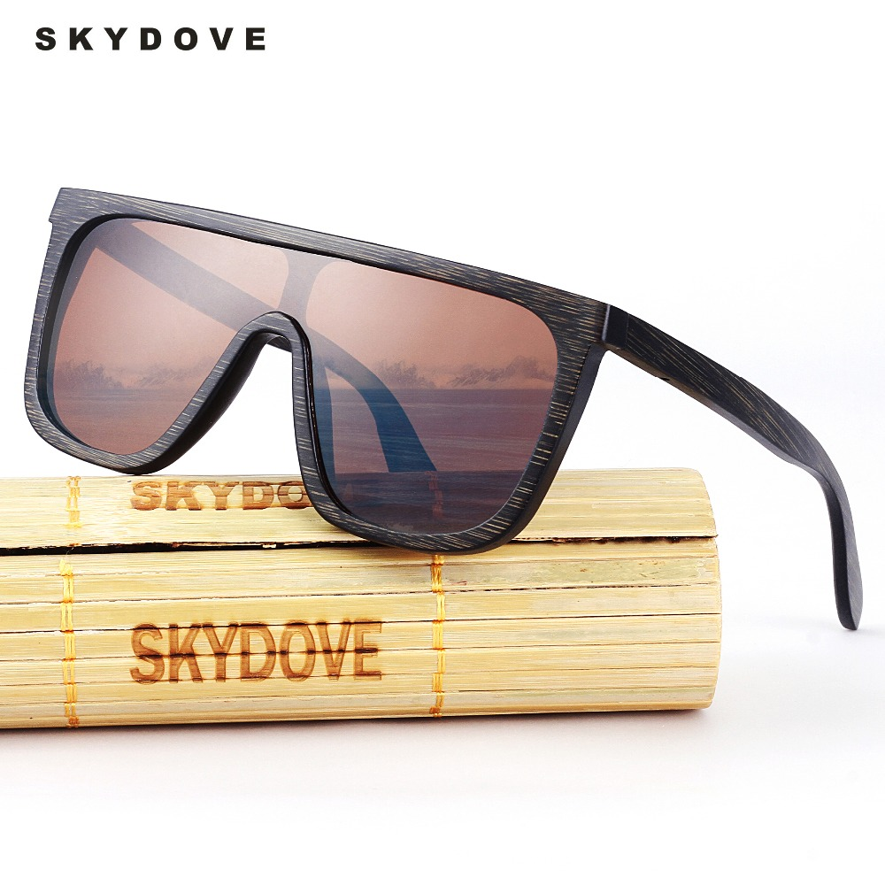SKYDOVE Bamboo Sunglasses Wooden Wood Mens Goggle Polarized Wooden Sunglasses Men 2018 Sunglasses Bamboo Men Fashion Sun Glasses