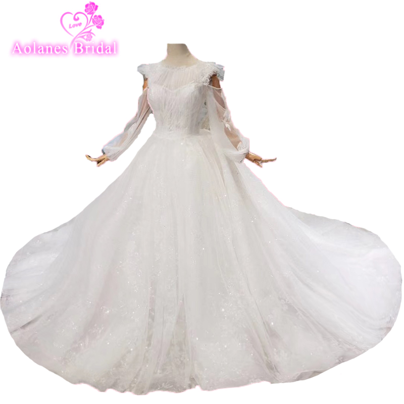 Wedding Dresses Vintage High Quality Luxury High-end Bride Gowns Custom Luxury Beaded Lace String Long Puffy Sleeve Bridal Gowns