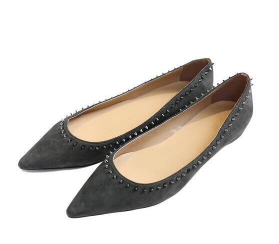 a49c1db3909b Spring Fashion Grey Suede Leather Women Pointy Toe Flats Small Studs Ladies  Elegant Ballet Flats Slip On Dress Shoes