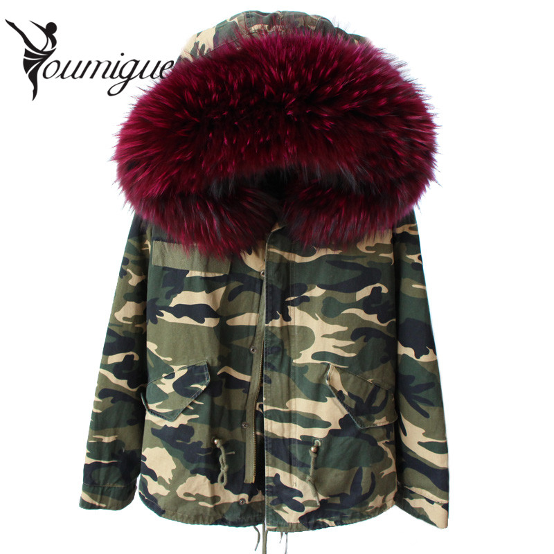 YOUMIGUE women winter parka military camouflage large raccoon fur collar hooded coat outwear real fox fur lining jacket brand women large collar army camouflage fox fur liner hooded coat outwear real fox fur lining jacket woman brand dhl free shipping