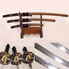 Hand Forged Japanese Samurai 3 Dragon Swords Set (Katana + Wakizashi+ Tanto) Clay Tempered Damascus Steel Hualee Wood Saya Sharp