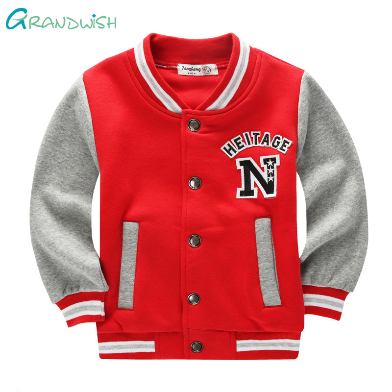 Grandwish Cotton School Baseball Coats for Boy Girls Spring Printed Jacket Children's Autumn Sports Hoodies for Kid 3T-10T,SC883